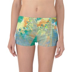 Abstract Flower Design In Turquoise And Yellows Reversible Boyleg Bikini Bottoms