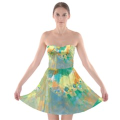 Abstract Flower Design in Turquoise and Yellows Strapless Bra Top Dress