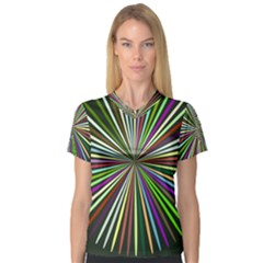 Colorful rays Women s V-Neck Sport Mesh Tee