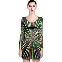 Colorful Rays Long Sleeve Bodycon Dress