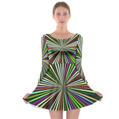 Colorful Rays Long Sleeve Skater Dress