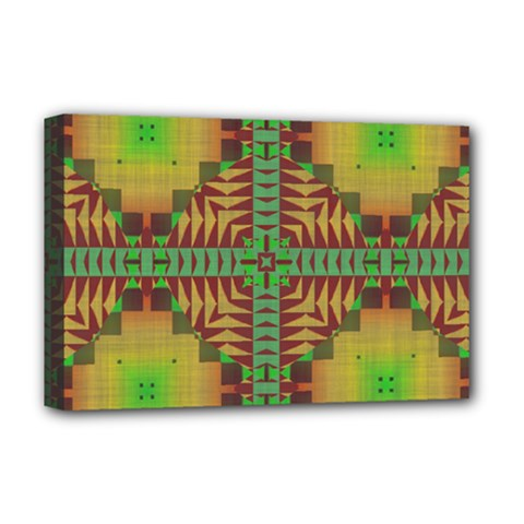 Tribal Shapes Pattern Deluxe Canvas 18  X 12  (stretched)
