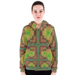 Tribal shapes pattern Women s Zipper Hoodie