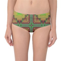 Tribal Shapes Pattern Mid Waist Bikini Bottoms
