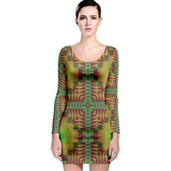 Tribal shapes pattern Long Sleeve Bodycon Dress