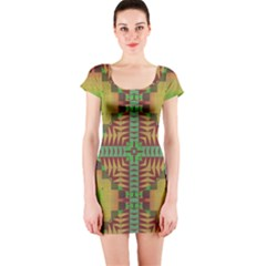 Tribal shapes pattern Short sleeve Bodycon dress