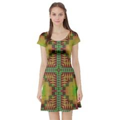 Tribal shapes pattern Short Sleeve Skater Dress