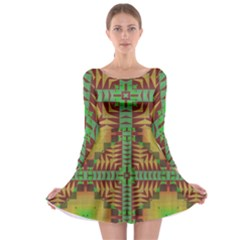 Tribal shapes pattern Long Sleeve Skater Dress