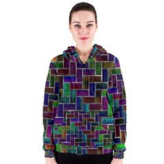 Colorful rectangles pattern Women s Zipper Hoodie