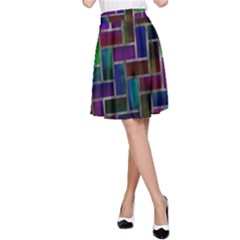 Colorful rectangles pattern A-line Skirt