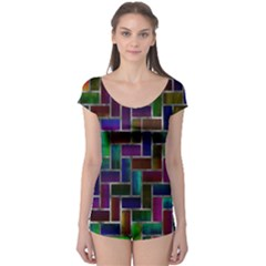 Colorful Rectangles Pattern Short Sleeve Leotard