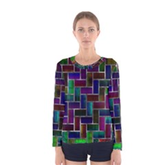 Colorful rectangles pattern Women Long Sleeve T-shirt
