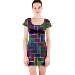 Colorful rectangles pattern Short sleeve Bodycon dress