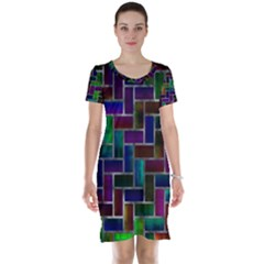 Colorful rectangles pattern Short Sleeve Nightdress