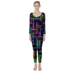 Colorful rectangles pattern  Long Sleeve Catsuit