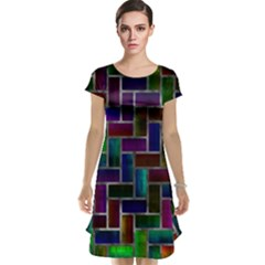 Colorful rectangles pattern Cap Sleeve Nightdress