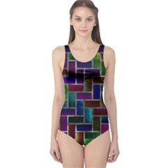 Colorful rectangles pattern Women s One Piece Swimsuit