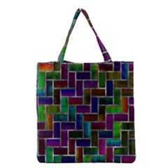 Colorful Rectangles Pattern Grocery Tote Bag