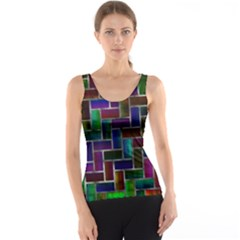 Colorful Rectangles Pattern Tank Top