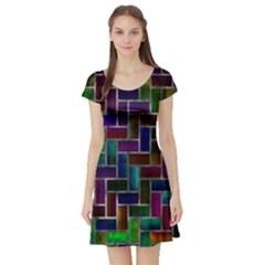 Colorful rectangles pattern Short Sleeve Skater Dress