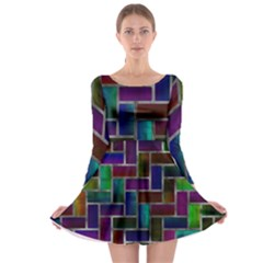 Colorful rectangles pattern Long Sleeve Skater Dress