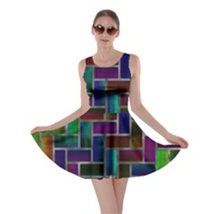 Colorful rectangles pattern Skater Dress