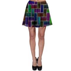 Colorful Rectangles Pattern Skater Skirt