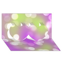 Modern Bokeh 7 Twin Hearts 3D Greeting Card (8x4)