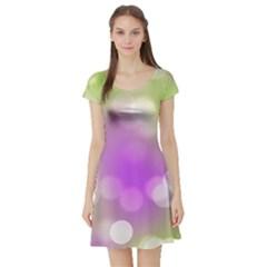 Modern Bokeh 7 Short Sleeve Skater Dresses