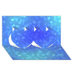 Modern Bokeh 8 Twin Hearts 3d Greeting Card (8x4)