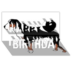 Appenzeller Sennenhund Silo Color Happy Birthday 3D Greeting Card (8x4)