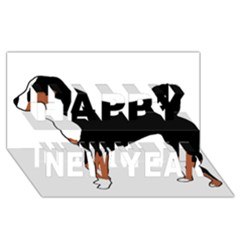 Appenzeller Sennenhund Silo Color Happy New Year 3D Greeting Card (8x4)