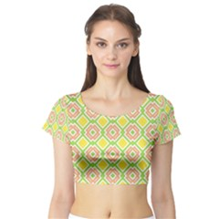 Cute Pretty Elegant Pattern Short Sleeve Crop Top