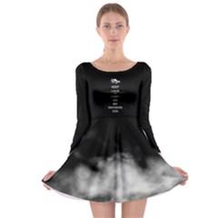 Black Long Sleeve Skater Dress