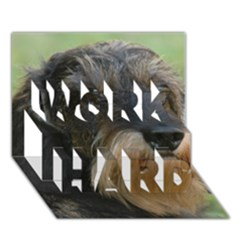 Wirehaired Dachshund WORK HARD 3D Greeting Card (7x5)