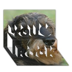 Wirehaired Dachshund You Rock 3D Greeting Card (7x5)