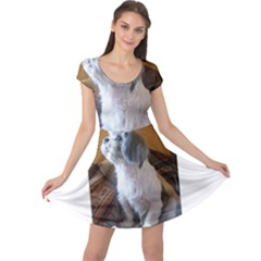 Shih Tzu Sitting Cap Sleeve Dresses