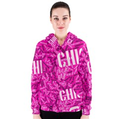 Hot Pink Chic Typography  Women s Zipper Hoodies