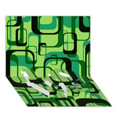Retro Pattern 1971 Green LOVE Bottom 3D Greeting Card (7x5)