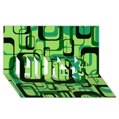 Retro Pattern 1971 Green Hugs 3d Greeting Card (8x4)