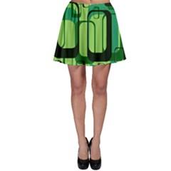 Retro Pattern 1971 Green Skater Skirts