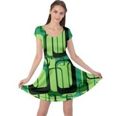 Retro Pattern 1971 Green Cap Sleeve Dresses