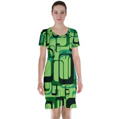 Retro Pattern 1971 Green Short Sleeve Nightdresses