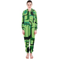 Retro Pattern 1971 Green Hooded Jumpsuit (ladies)