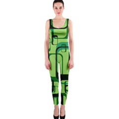 Retro Pattern 1971 Green OnePiece Catsuits