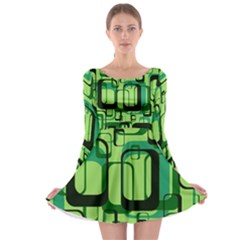 Retro Pattern 1971 Green Long Sleeve Skater Dress