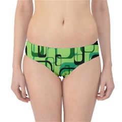 Retro Pattern 1971 Green Hipster Bikini Bottoms