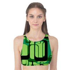 Retro Pattern 1971 Green Tank Bikini Top