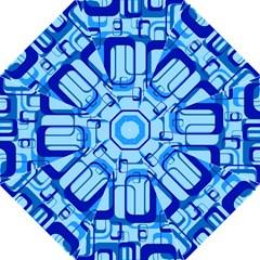 Retro Pattern 1971 Blue Folding Umbrellas