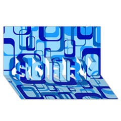 Retro Pattern 1971 Blue Sorry 3d Greeting Card (8x4)